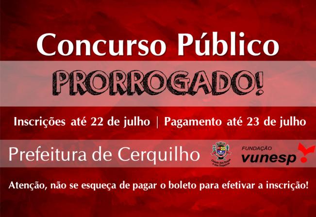 Concurso Público da Prefeitura de Cerquilho tem prazo de inscrições prorrogado