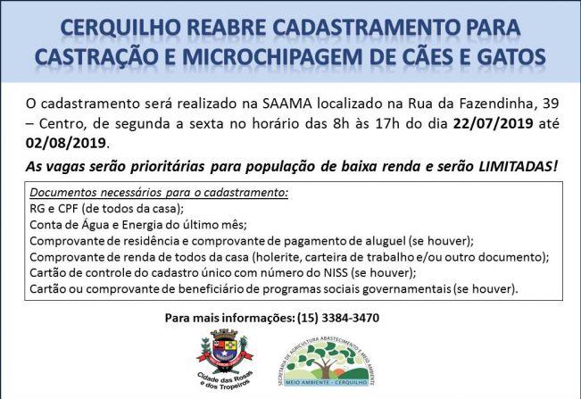 Prefeitura de Cerquilho castra todos os animais cadastrados e reabre inscrições para vagas remanescentes