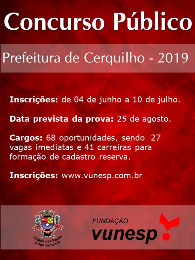Prefeitura de Cerquilho publica edital do Concurso Público